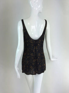 Valentino copper & black beaded chiffon tunic/mini dress 1990s