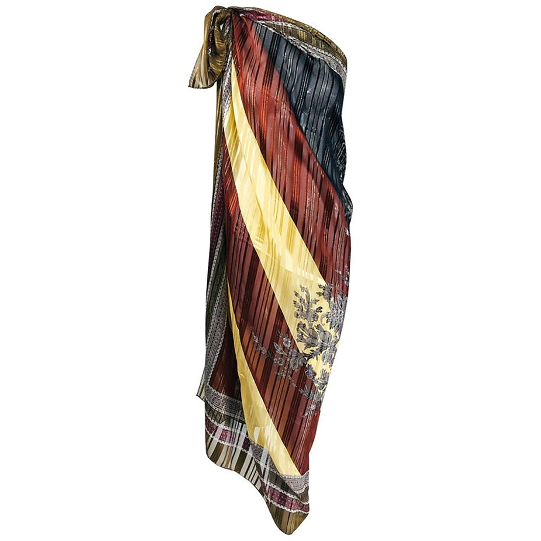Valentino Woven Metallic Silk Chiffon Scarf with Abstract Design 1970s 54