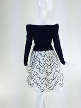 Victor Costa navy jersey draped top & paper taffeta applique full skirt 1980s