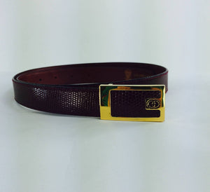 Gucci Burgundy glazed lizard belt with gold buckle