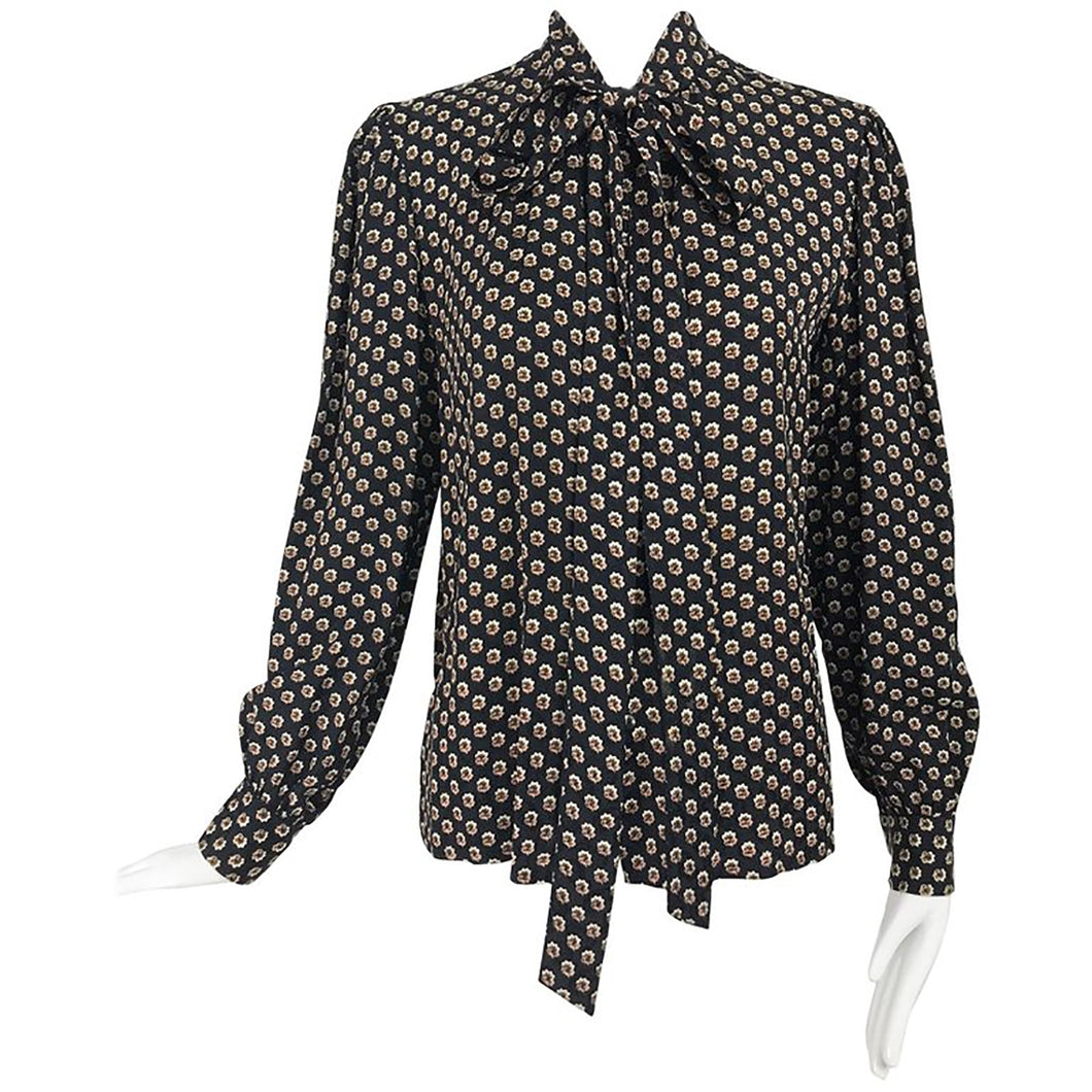 Yves Saint Laurent Provincial Print Silk Bow Neck Blouse 1970s