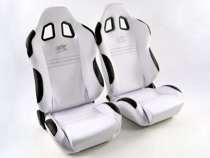Pair of Ergonomic Performance Sportseat Set Dallas artificial leather black seam silver