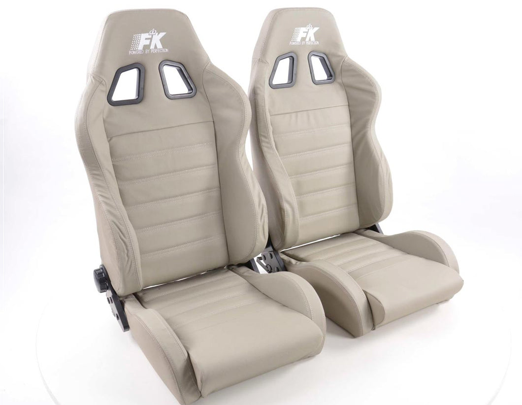 Pair of Ergonomic Performance Sportseat Set Race 4 Real leather grey - LK Auto Factors