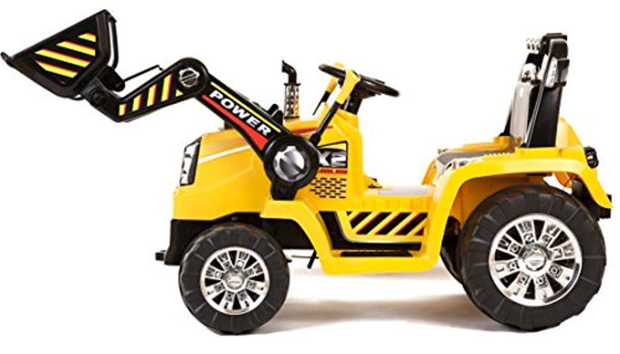 Kids 12v Electric / Battery Ride on Tractor / Digger Yellow - LK Auto Factors