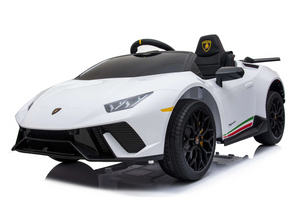 SR308 12V Lamborghini Huracán Licensed Battery Powered Kids Electric Ride On Toy Car (White)