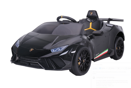 SR308 12V Lamborghini Huracán Licensed Battery Powered Kids Electric Ride On Toy Car (Black)