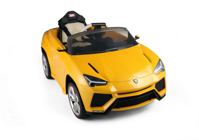 12V Lamborghini Urus Licensed Battery Powered Electric Ride on Car Leather Seat (Yellow)