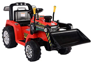 Kids 12v Electric / Battery Ride on Tractor / Digger Red - LK Auto Factors