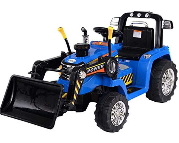Kids 12v Electric Ride on Tractor With Front Loader Blue - LK Auto Factors