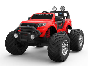 RED 12V 10A Ford Ranger Licenced Monster Truck 4 Motors Kids Electric Ride on Car with EVA Wheels (MT550 Premium Version) - LK Auto Factors