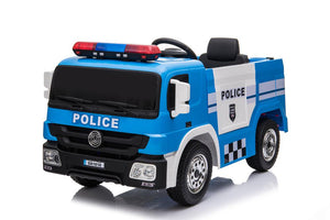 POLICE TRUCK Electric Battery Powered Kids Electric Ride On Toy Car (Model: SX1818) BLUE - LK Auto Factors