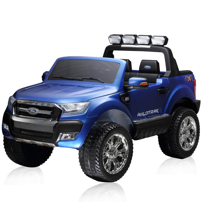 Latest 2015 Model FORD RANGER Licensed 4x4 Kids Electric Ride On Car with Remote Control LED Lights and Music (F650) BLUE - LK Auto Factors