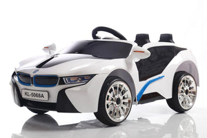 Kids 2x6V 15W TWO MOTORS Battery Powered UNBRANDED BMW i8 Style Electric Ride On Toy Car (Model: KL1888) WHITE - LK Auto Factors