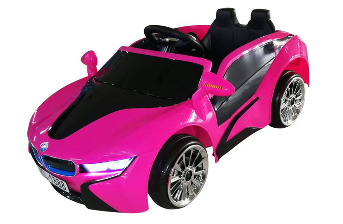 Kids 2x6V 15W TWO MOTORS Battery Powered UNBRANDED BMW i8 Style Electric Ride On Toy Car (Model: KL1888) PINK - LK Auto Factors