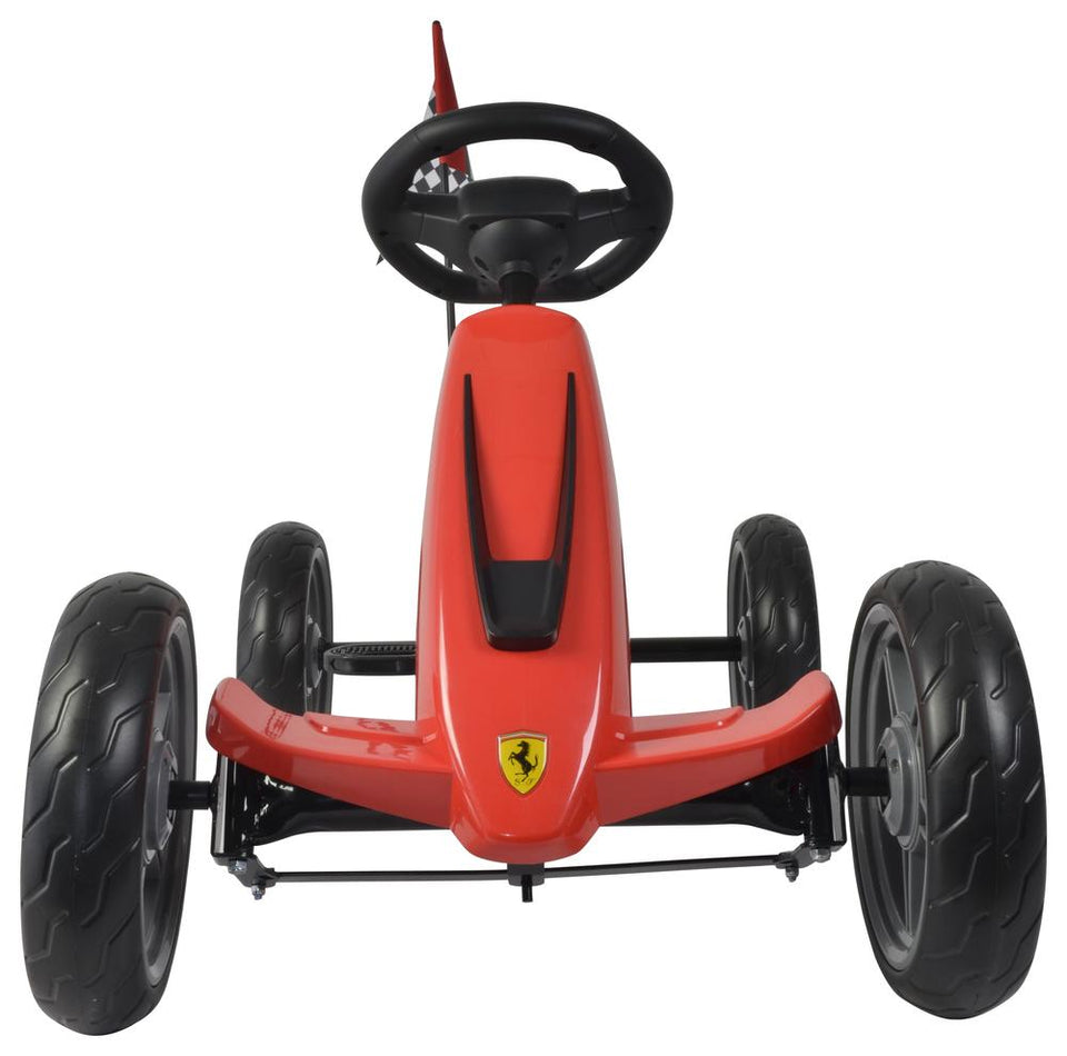 Ferrari Licensed Kids Go Kart with Foot Pedal EVA Wheels Brake Lever Clutch Gear C8931 (RED) - LK Auto Factors