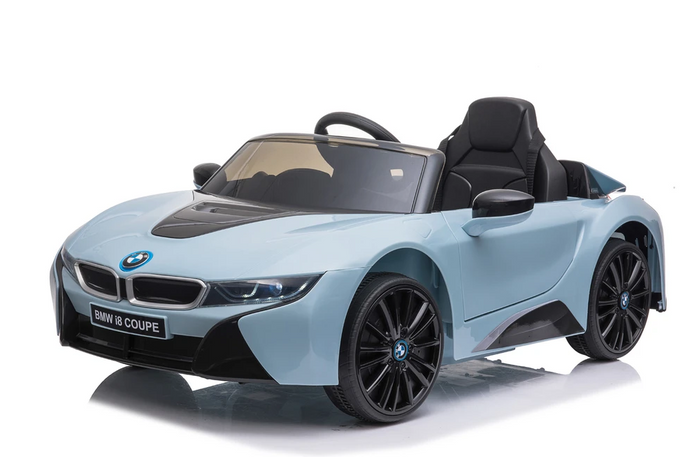 BMW i8 Licensed 12V 4.5A Two Motors Battery Powered Electric Ride On Toy Car (Model: JE1001) Blue