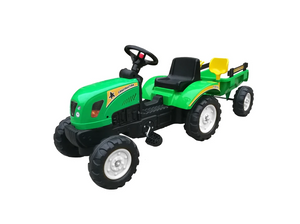 Green JD Style Foot Pedal Tractor Ride On with Trailer and Tools