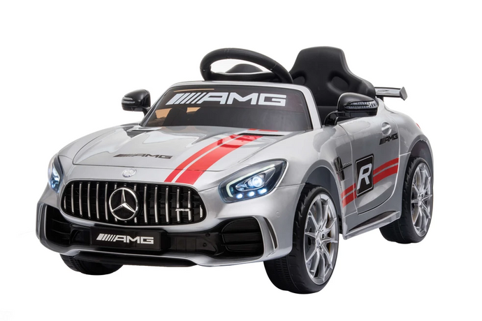 Mercedes Benz GTR AMG Licensed 6V 7A Battery Powered Kids Electric Ride On Toy Car Silver