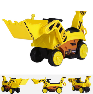 6V Ride On Construction Truck Digger - 2WD Yellow