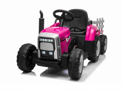 New 2020 Kids Ride On Twin Motor R/C Tractor & Trailer Pink