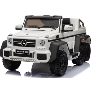 Mercedes G63 Electric Ride on Car 6x6 Jeep with Remote Control - White - 6 wheels Drive