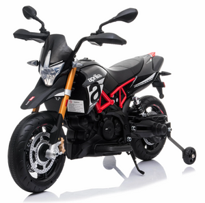 Aprilia dorsoduro Licensed 12V Ride On Kids Bike with Stabilisers - Black