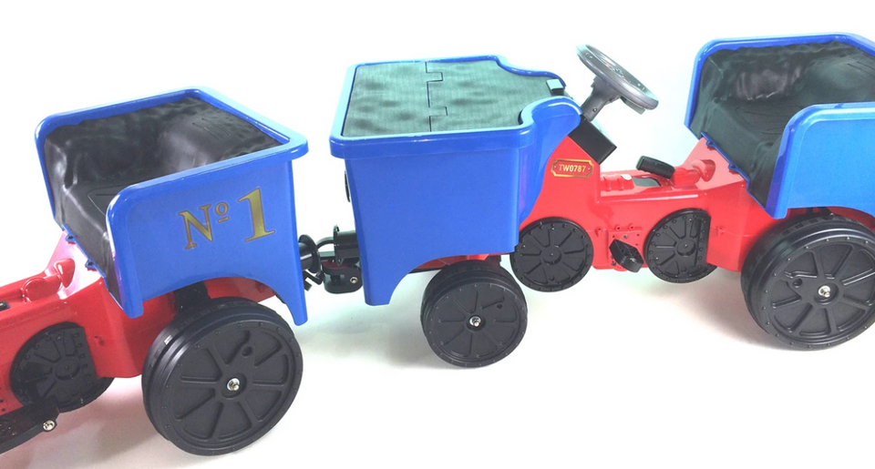 Ride on Kids Electric 12v Battery Powered Play Train Engine and Pedal Coal Truck - Blue - LK Auto Factors