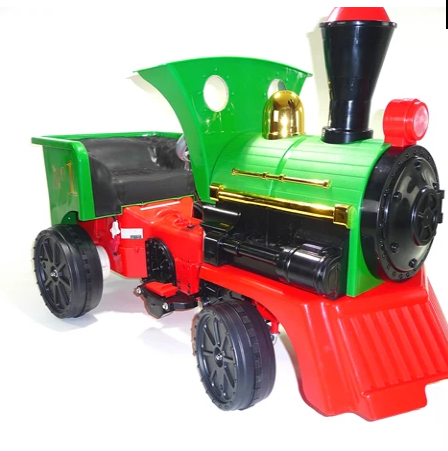 Ride on Kids Electric 12v Battery Powered Play Train Engine and Pedal Coal Truck - Green - LK Auto Factors