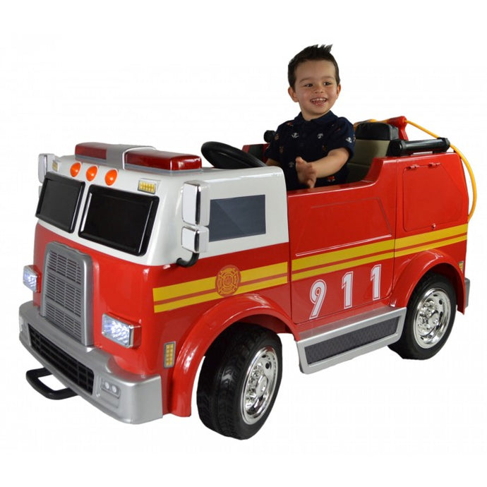 Big 2 Seats Hand Painted Electric Kids Ride On Toy Fire Engine - LK Auto Factors