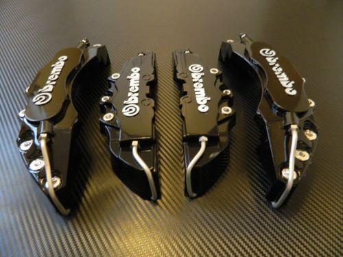 Black Brembo Brake Caliper Covers Kit 3D logo Front Rear 4pcs ABS - LK Auto Factors
