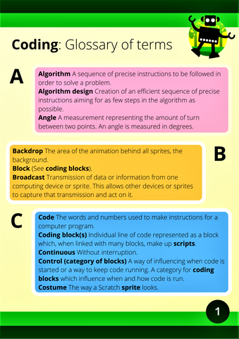 Coding glossary of terms a-c