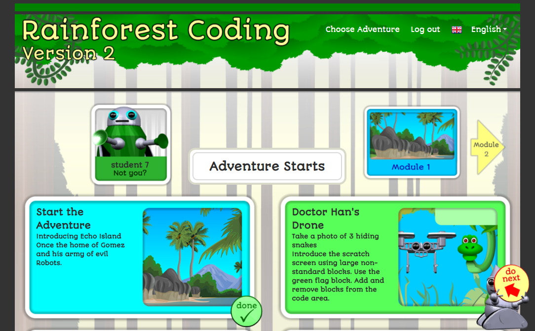 Rainforest Coding activity selection page, showing done tick and do next prompt.