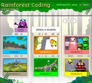 Rainforest Coding module selection page.