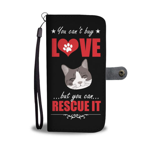 Women's Cat Wallet w/ Universal Phone Case Black Bifold RFID Wallet Love Rescue Cat