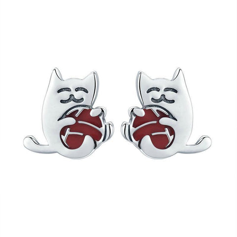 Image of sterling silver cat stud earrings - Cute Cats Store