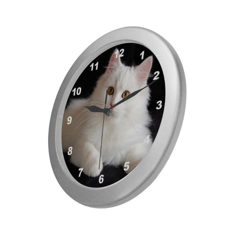 "Snowy Cat Wall Clock 9"" Quartz Unique Cat Gifts For Cat Lovers"