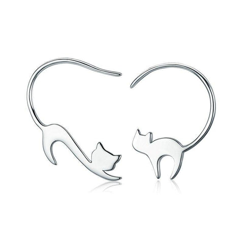 sterling silver cat stud earrings - Cute Cats Store