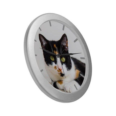 "Calico Wall Clock 9"" Quartz Movement Cute Gifts"