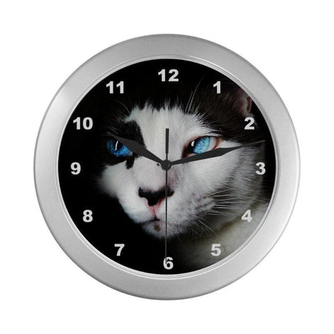"Image of Cat Lover Wall Clock 9"" Quartz Movement Silver Frame"