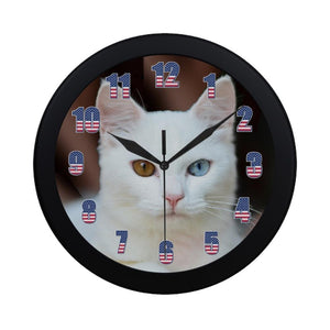"White Cat Wall Clock 9"" Quartz Battery Operated Cute Home Decor"