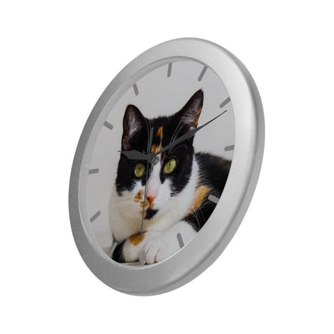 "Image of Calico Wall Clock 9"" Quartz Movement Cute Gifts"