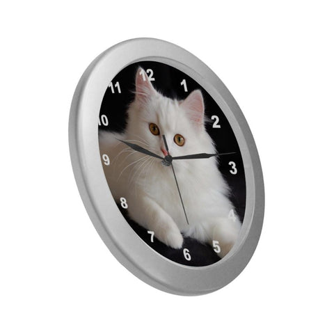 "Image of Snowy Cat Wall Clock 9"" Quartz Unique Cat Gifts For Cat Lovers"