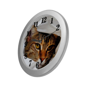 "Cute Tabby Wall Clock 9"" Quartz Cute Gifts"