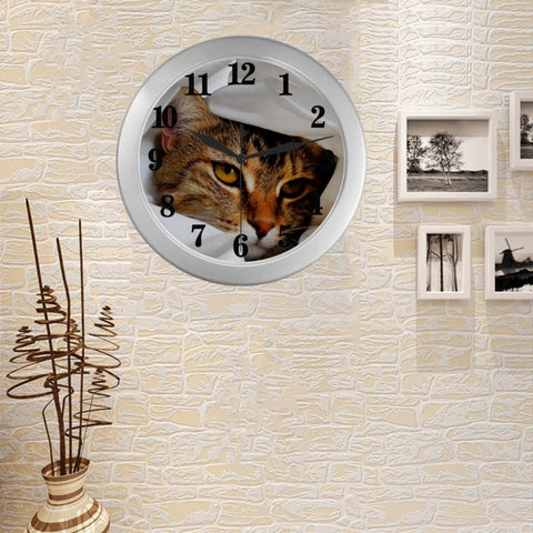 "Image of Cute Tabby Wall Clock 9"" Quartz Cute Gifts"