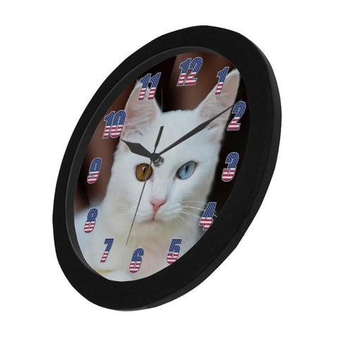 "Image of White Cat Wall Clock 9"" Quartz Battery Operated Cute Home Decor"