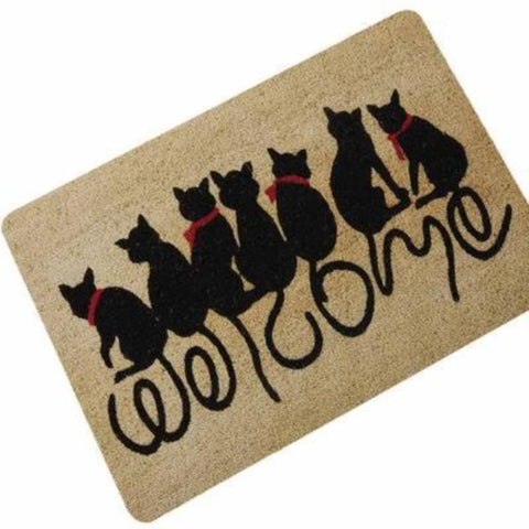 Image of Floor Mat Red bow / 40x60cm / Brown/Black - Cute Cats Store