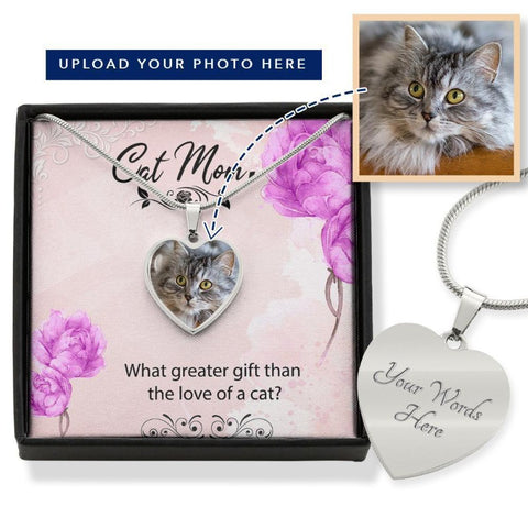 Cat Necklace With Custom Photo & Message Card Personalized Gift For Cat Mom