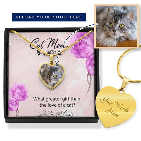 Cat Necklace With Custom Photo & Message Card Personalized Gift For Cat Mom - Cute Cats Store