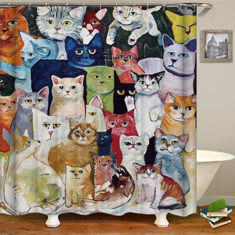 Cute Cat Shower Curtain Cartoon Print Waterproof Polyester Cat Home Decor