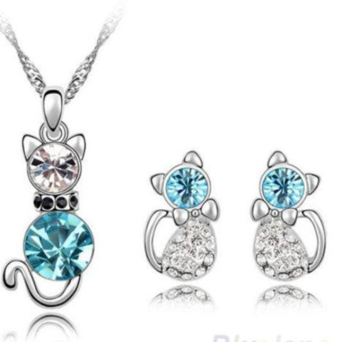 Jewelry Set Blue/Silver - Cute Cats Store